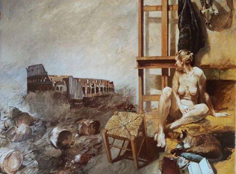Melanconia a Roma, 1983. Olio su tela - 152x180 cm